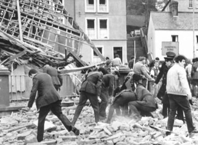 File photo. The aftermath of a bomb blast that killed 11 and injured 60 in Fermanagh in 1987.