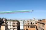 The Italian Frecce Tricolori (Tricolor Arrows) aerobatics team fly over Rome for Republic Day in Italy yesterday