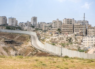 View from the Dead Sea to Jerusalem road in the West Bank Palestinian area of the separation barrier.
