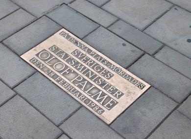 Memorial plaque at Sveavagen street in Stockholm, where Olof Palme was assassinated.