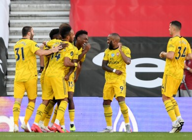 Arsenal's Joe Willock celebrates scoring his side's second goal.