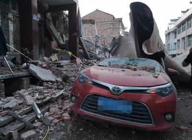 The site of a tank truck blast in Wenling, east China