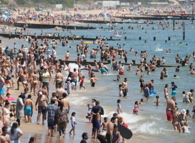 Crowds on the beach in Bournemouth, Thursday