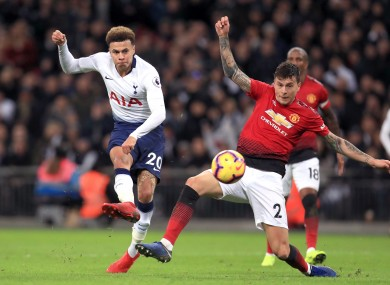 Dele Alli under pressure from Victor Lindelof while playing for Tottenham against Manchester United back in January.
