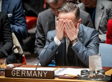 A frustrated German foreign minister Heiko Maas at a meeting of the UN Security Council in February.