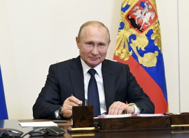 Russian President Vladimir Putin pictured during today's teleconference at the Novo-Ogaryovo residence outside Moscow, Russia.