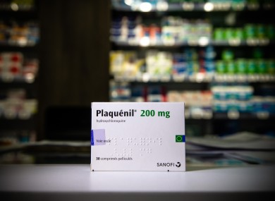 A box of Plaquenil (hydroxychloroquine) is seen at a drugstore in Paris.