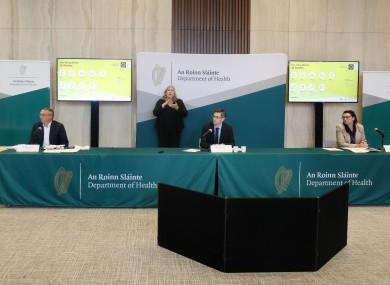 Dr Ronan Glynn at tonight's press conference.