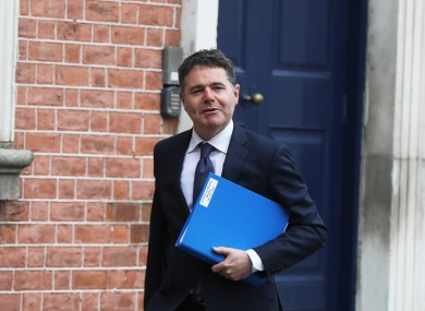 Minister for Finance Paschal Donohoe on his way to Cabinet on Monday.