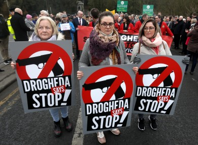 Three women at a protest against violence in Drogheda earlier this year.