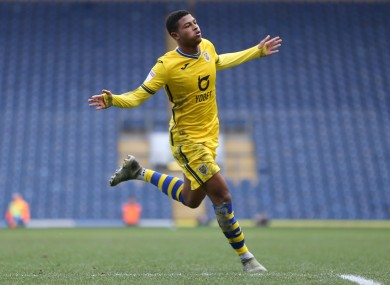 Swansea City's Rhian Brewster celebrates  (file pic).