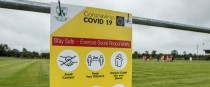 Covid-19 signage at a training session (file pic).