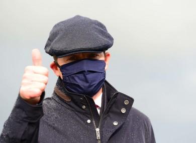 Aidan O'Brien wearing a mask at the Curragh.