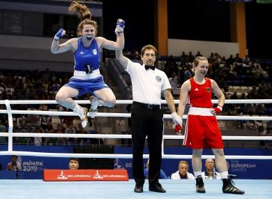 Flying high: Walsh celebrates beating world champion, Omella Warner, last year.