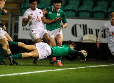 Max O'Reilly scores for the Irish U20s against England earlier this year. He is among this year's intake at the Leinster Academy.