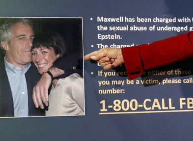 A prosecutor points to a photo of Maxwell with Jeffrey Epstein.