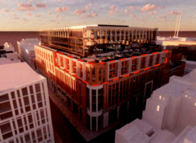 The planned development would sit above the current shopping centre site.