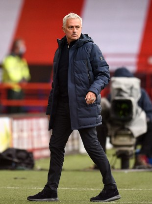 Tottenham manager Jose Mourinho pictured during his side's defeat to Sheffield United.