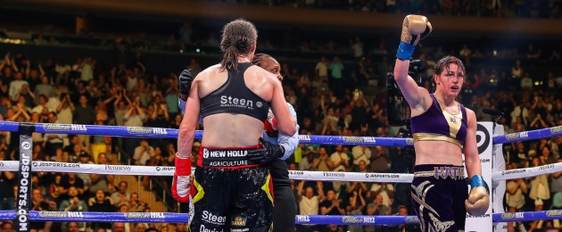 Taylor raises her arm after a humdinger versus Persoon at MSG in June 2019.