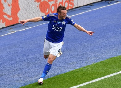 Leicester City's Jamie Vardy celebrates after scoring his side's third goal in today's win against Crystal Palace.