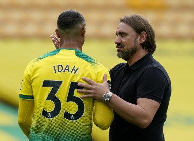 Adam Idah is consoled by Norwich City manager Daniel Farke after the recent defeat to West Ham United which confirmed the Canaries' relegation from the Premier League.