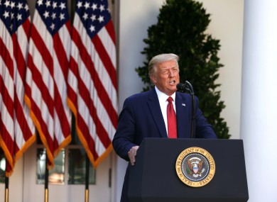US President Donald Trump holds a press conference in the Rose Garden.