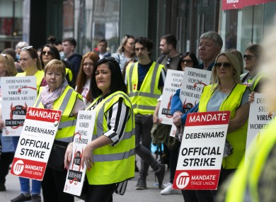 Debenhams workers protesting outside Debenhams on Henry Street Dublin for the 100th day since they were layed off, 18 July.