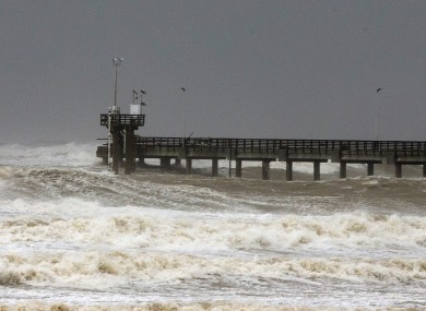 A damaged Bob Hall Pier seen after Hurricane Hanna made land fall south of Corpus Christi