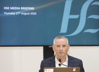 HSE CEO Paul Reid at today's briefing.