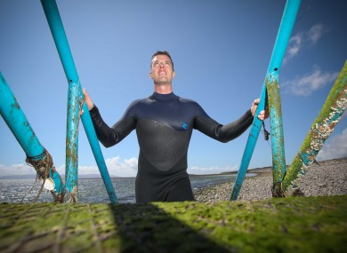 Dr Liam Burke in the water at Blackrock, Salthill.