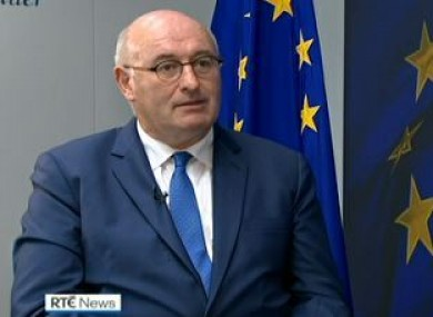 EU Trade Commissioner Phil Hogan speaking to RTÉ's Tony Connelly.
