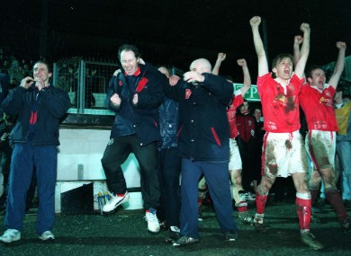 Brian Kerr celebrates after Pat's win the 1995/96 title.