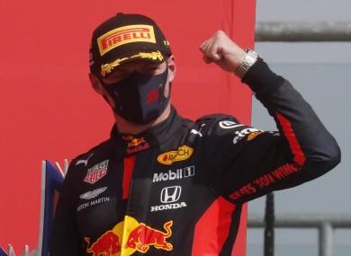 Max Verstappen after winning the Grand Prix.