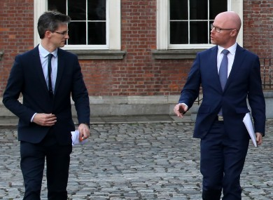 Acting Chief Medical Officer Dr Ronan Glynn with Health Minister Stephen Donnelly at Dublin Castle yesterday.