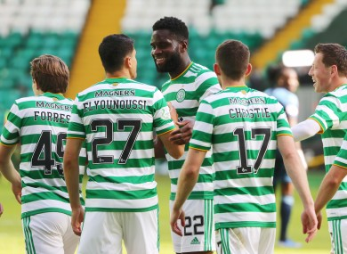 Odsonne Edouard and his Celtic team-mates celebrate.