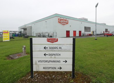 Entrance to Carroll's factory in Tullamore, Co Offaly.