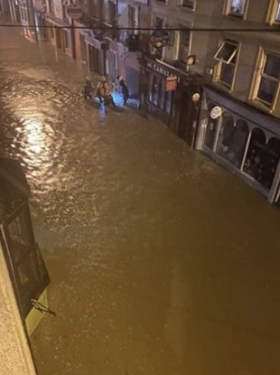 Flooding in Skibbereen, Co Cork this evening