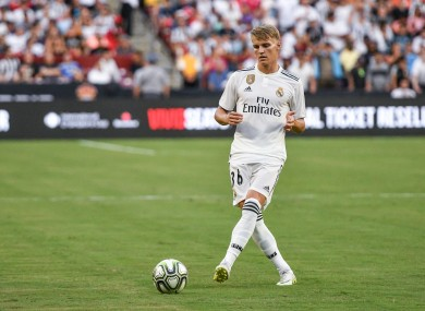 Martin Odegaard in action for Real Madrid in 2018.