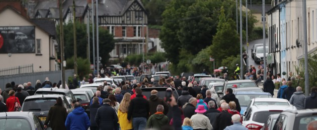 Hundreds gathered outside St Eugene's Cathedral in Derry to say goodbye to John Hume.