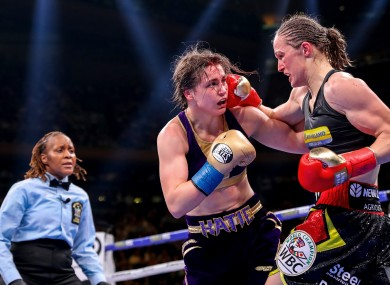 Delfine Persoon lands a right hand on Katie Taylor during their original contest last June.