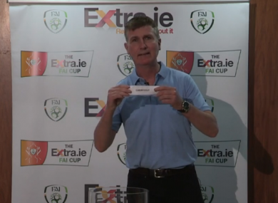 Ireland manager Stephen Kenny making this afternoon's draw.