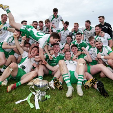 Killoe Emmet Óg players celebrate last year's county senior title win.
