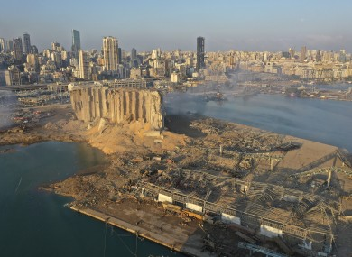 Drone footage of the blast area in Beirut