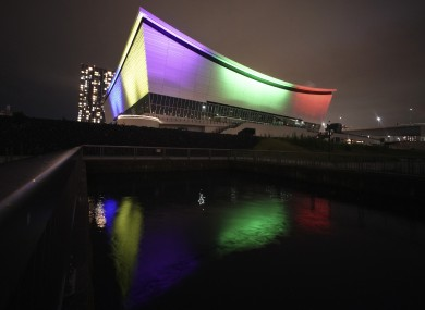 The Ariake Olympic venue lit up in support of medical workers last month.