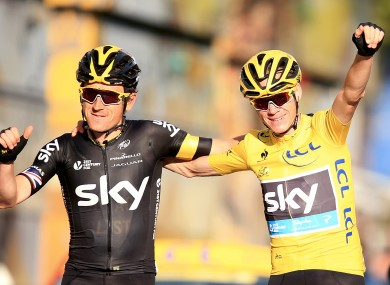 Chris Froome (yellow jersey) and Geraint Thomas, then of Team Sky, at the 2015 Tour de France.