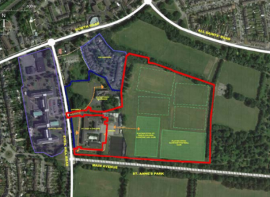 Proposed area for the site in Raheny.