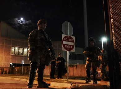 Members of the US National Guard surround the perimeter of government buildings in Kenosha, Wisconsin.
