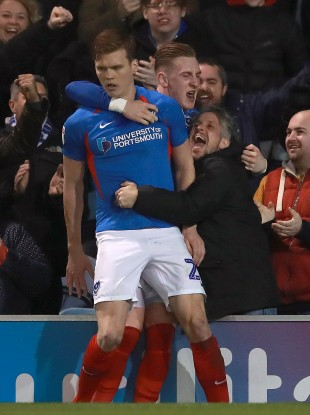 Sean Raggett celebrates with Ronan Curtis after scoring for Portsmouth against Fleetwood Town in March.