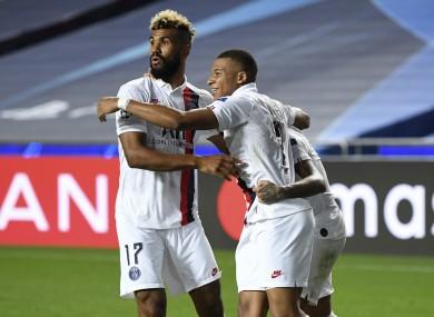 Eric Choupo-Moting and Kylian Mbappe celebrate against Atalanta.