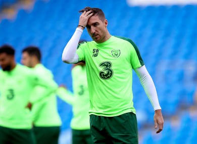 Stephen Ward training with Ireland in 2018.